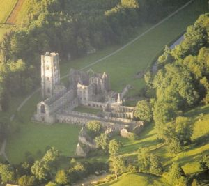 Photo of Fountains Abbey from the Abbeys Amble book