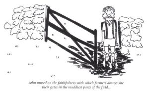 Muddy gates cartoon from the Abbeys Amble book