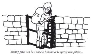 Kissing gates cartoon from the Abbeys Amble book