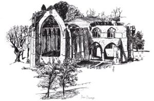 Drawing of Bolton Priory from the Abbeys Amble book