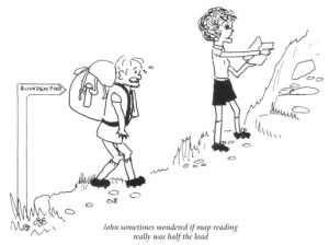 Map reading load cartoon from the Abbeys Amble book