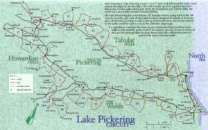 Map of the walks from the Exploring Lake Pickering book
