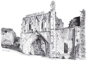 Drawing of Kirkham Priory from the Exploring Lake Pickering book