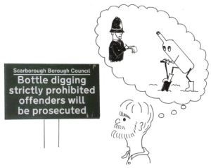Bottle digging cartoon from the Exploring Lake Pickering book