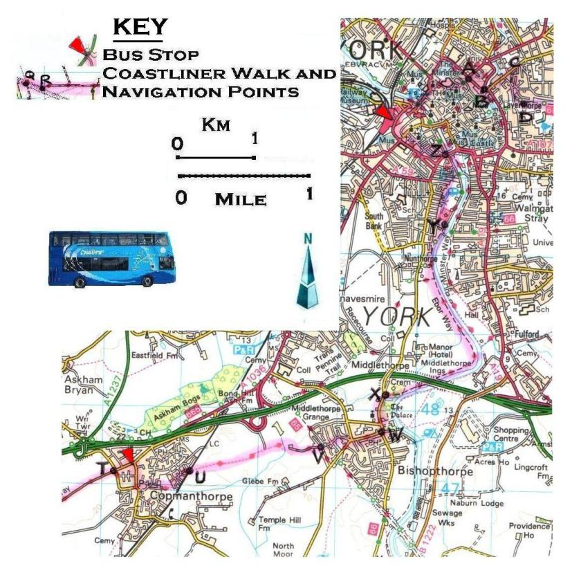 Walk 4 Copmanthorpe to York Station 1:50,000 OS © Crown copyright 2017 CS-05488-NOY1H7