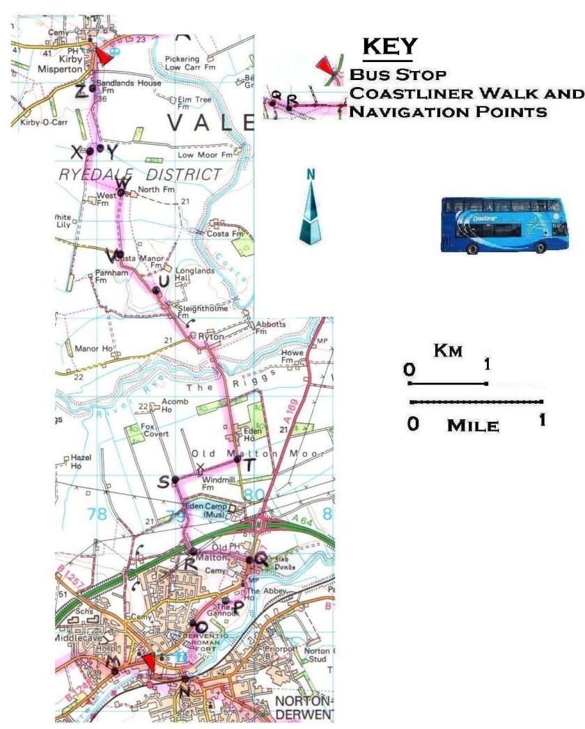 Walk 9 Malton to Kirby Misperton 1:50,000 OS © Crown copyright 2017 CS-05488-NOY1H7